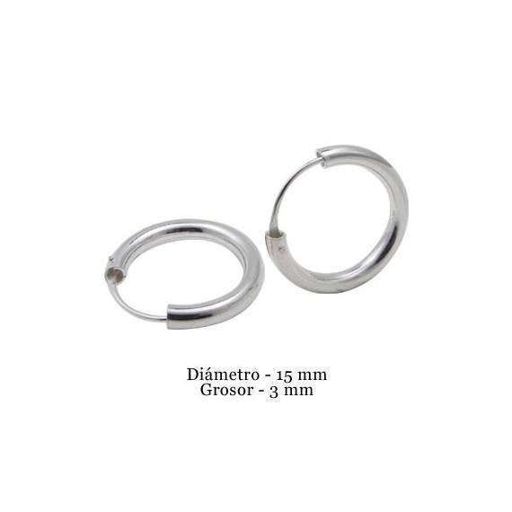Aro de plata para hombre, grosor 3mm, diámetro interior 15mm. Precio por un aro