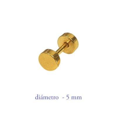 Dilatación falsa dorada, 5mm de diámetro, acero anodizado en dorado
