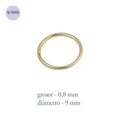 Aro nariz cerrado de acero dorado, diámetro 9mm, grosor 0,8mm