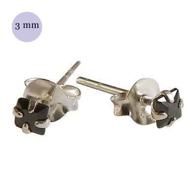 boucle d'oreille argent zirconium homme, carré 3mm. Vendu à l'unité. OR31-2