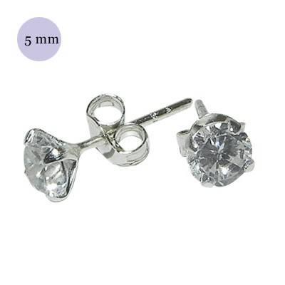 Un pendiente de plata con circonita redonda 5mm. Precio por unidad. OR73-1