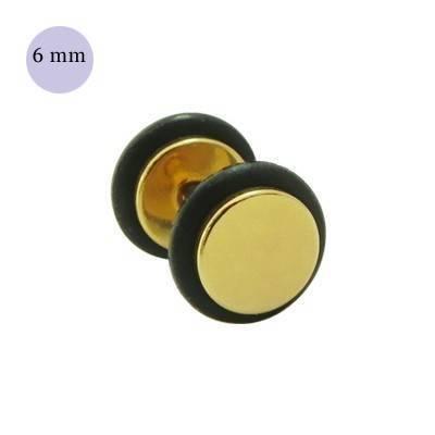 Dilatación falsa dorada, 6mm de diámetro, con dos anillas de goma