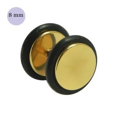 Dilatación falsa dorada, 8mm de diámetro, con dos anillas de goma