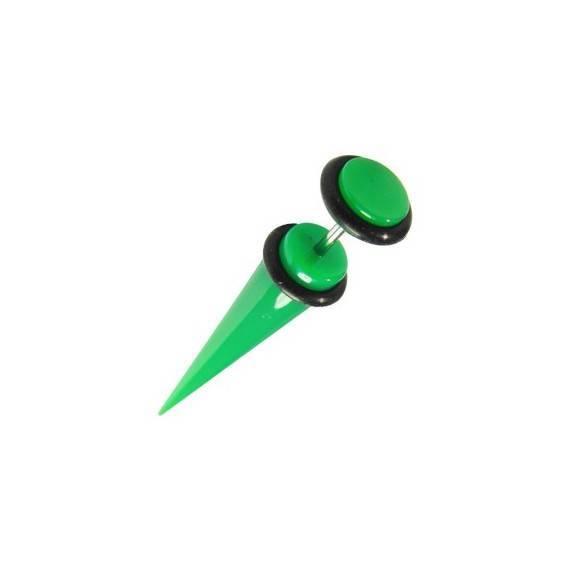 Una dilatación falsa tipo cuerno de plástico, color verde. GX81-8
