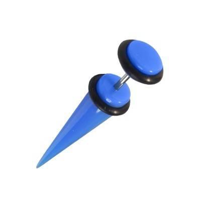Una dilatación falsa tipo cuerno de plástico, color azul claro. GX81-9