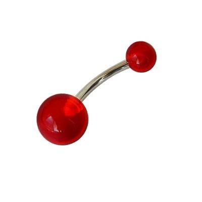 Piercing ombligo, color rojo, bolas de plástico. GO60-56