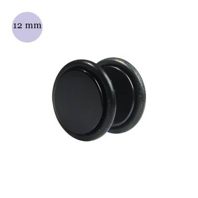 Dilatacion falsa negra de plástico, 12mm diámetro de los discos. Precio por una dilatacion falsa