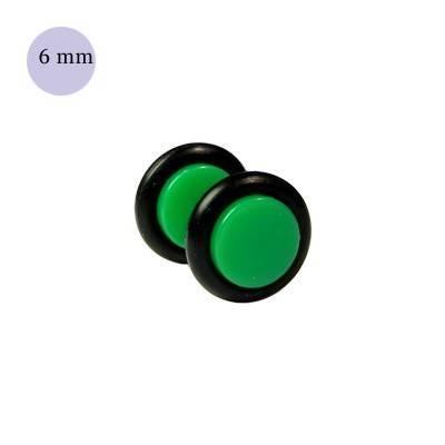 Dilatacion falsa verde de plastico, diámetro 6mm. Precio por una dilatacion falsa