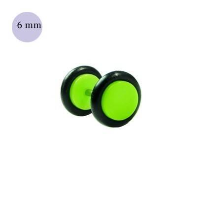 Dilatacion falsa verde claro de plastico, diámetro 6mm. Precio por una dilatacion falsa