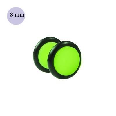 Dilatacion falsa verde claro de plastico, diámetro 8mm. Precio por una dilatacion falsa