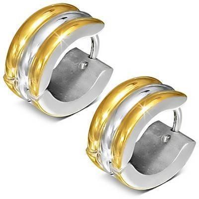 Aro de acero quirúrgico ancho con dos lineas dorada. El precio es por un aro