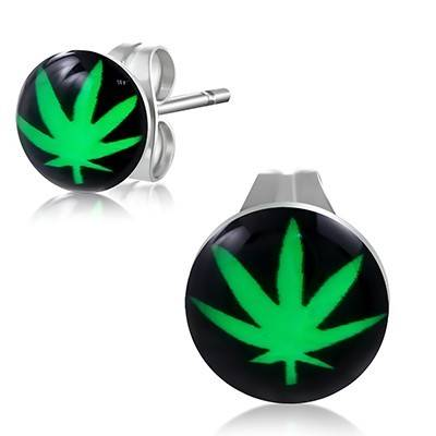 Pendiente de acero quirúrgico, hoja marihuana. El precio es por un pendiente. BB380-41