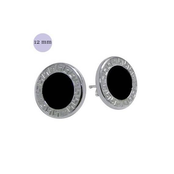 Pendiente redondo con circulo negro, plata de ley, 12mm de diámetro. Precio por un pendiente