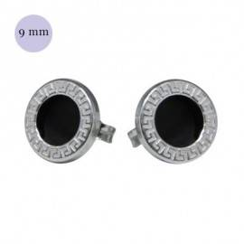Pendiente redondo con circulo negro, plata de ley, 9mm de diámetro. Precio por un pendiente