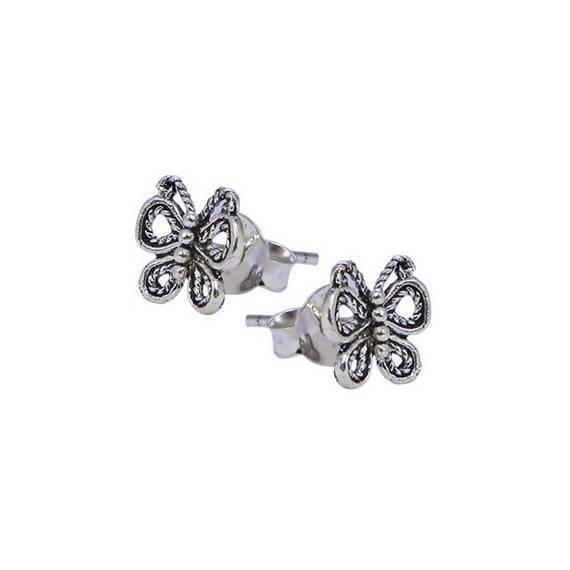 Pendiente de plata con tuerca, mariposa, 7mm de largo. Precio por un pendiente
