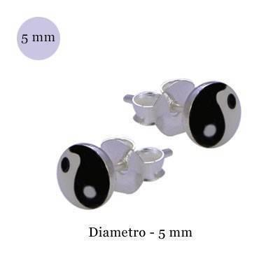 Pendiente de plata, Yin Yang, diámetro 5mm. Precio por un pendiente