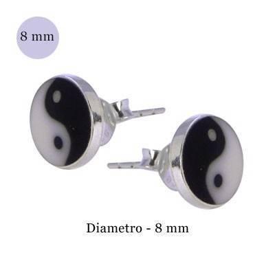 Pendiente de plata, Yin Yang, diámetro 8mm. Precio por un pendiente