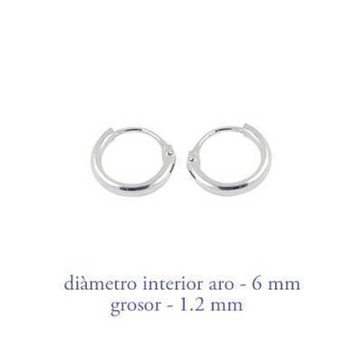 Men's sterling silver hoop earrings thickness 1,2 mm diameter 6 mm. Price by unit