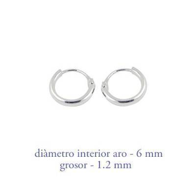 Men's sterling silver hoop earrings thickness 1,2 mm diameter 6 mm. Price by unit