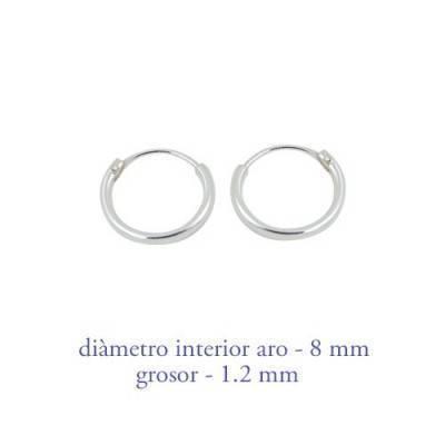 Men's sterling silver hoop earrings thickness 1,2 mm diameter 8 mm. Price by unit