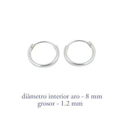 Men's sterling silver hoop earrings thickness 1,2 mm diameter 8 mm. Price by unit