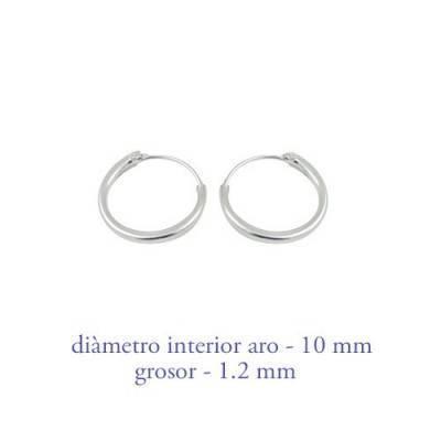 Men's sterling silver hoop earrings thickness 1,2 mm diameter 10 mm. Price by unit