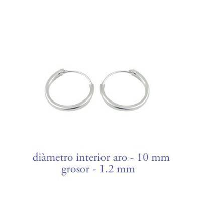 Men's sterling silver hoop earrings thickness 1,2 mm diameter 10 mm. Price by unit