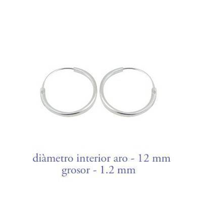 Men's sterling silver hoop earrings thickness 1,2 mm diameter 12 mm. Price by unit