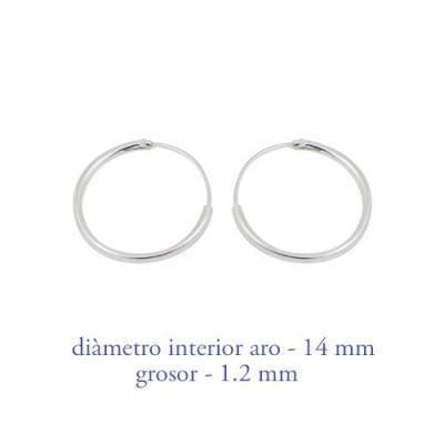 Boucles d'oreille en argent anneau homme, epaisseur 1,2 mm, diametre 14 mm. Prix par unite