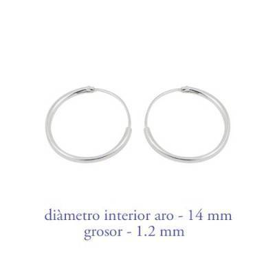 Men's sterling silver hoop earrings thickness 1,2 mm diameter 14 mm. Price by unit