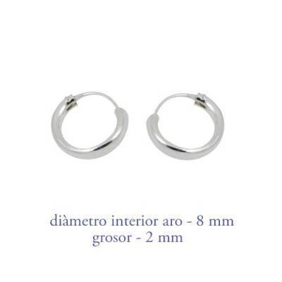 Men's sterling silver hoop earrings thickness 2 mm diameter 8 mm. Price by unit