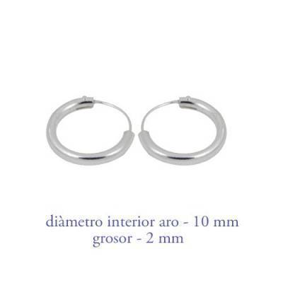 Men's sterling silver hoop earrings thickness 2 mm diameter 10 mm. Price by unit