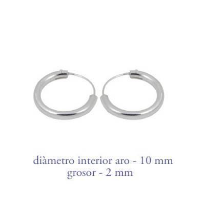 Men's sterling silver hoop earrings thickness 2 mm diameter 10 mm. Price by unit