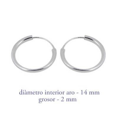 Men's sterling silver hoop earrings thickness 2 mm diameter 15 mm. Price by unit