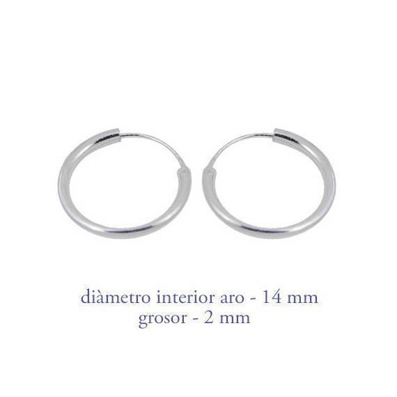 Aro de plata para hombre, grosor 2mm, diámetro interior 15mm. Precio por un aro