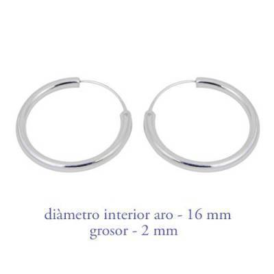 Men's sterling silver hoop earrings thickness 2 mm diameter 16 mm. Price by unit