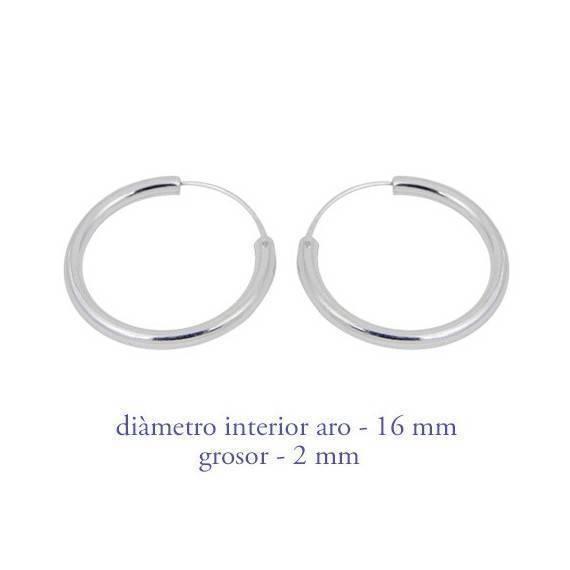 Aro de plata para hombre, grosor 2mm, diámetro interior 16mm. Precio por un aro