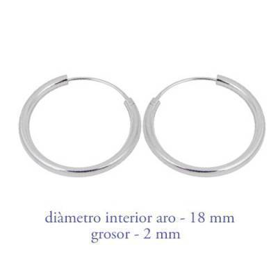 Un aro de plata para chico. Precio por unidad, grosor 2,0mm, diámetro interior 18mm. AR113