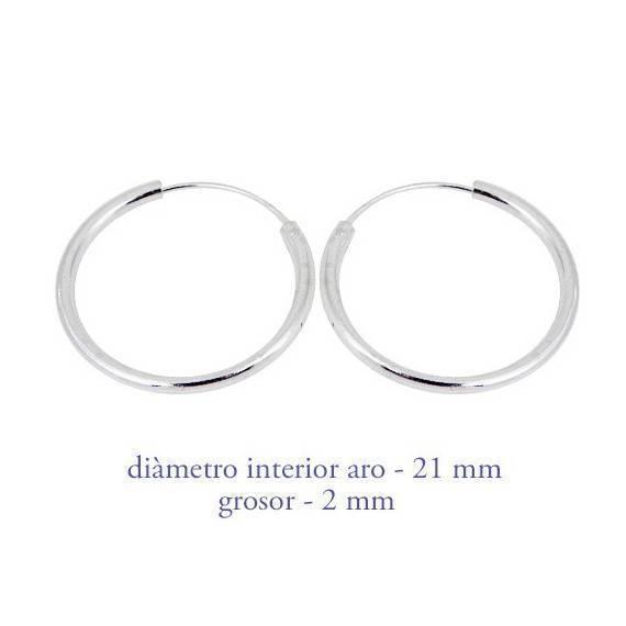 Un aro de plata para chico. Precio por unidad, grosor 2,0mm, diámetro interior 21mm. AR114