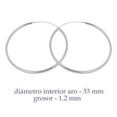 Un aro de plata para chica. Precio por unidad, grosor 1,2mm, diámetro interior 33mm. AR160