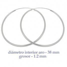 Un aro de plata para chica. Precio por unidad, grosor 1,2mm, diámetro interior 38mm. AR161