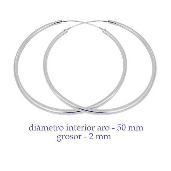 Un aro de plata para chica. Precio por unidad, grosor 2mm, diámetro interior 50mm. AR118