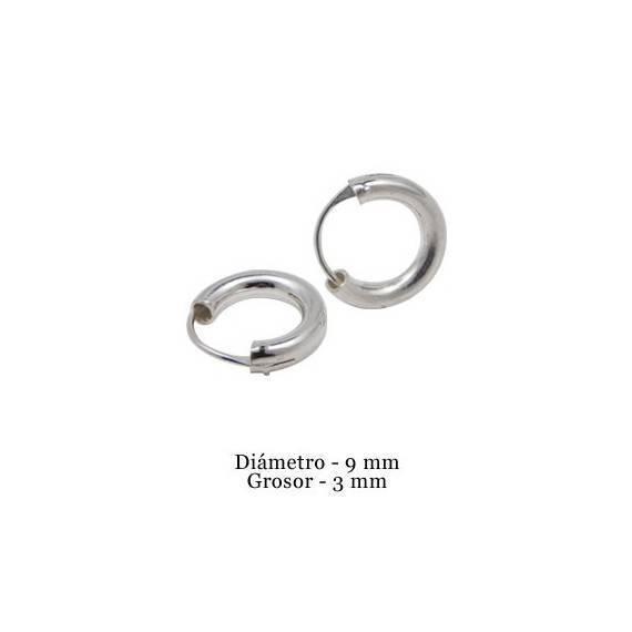 Boucles d'oreille en argent anneau homme, epaisseur 3 mm, diametre 9 mm. Prix par unite