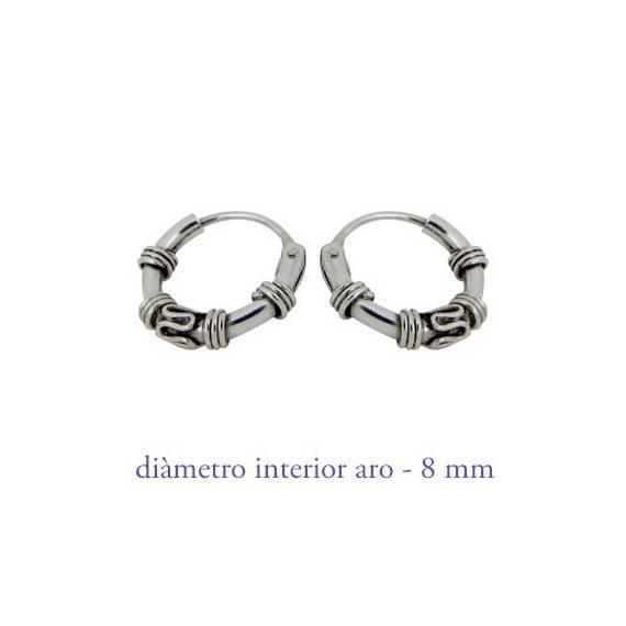 Men's sterling silver balinese hoop earrings, diameter 8mm. Price by unit