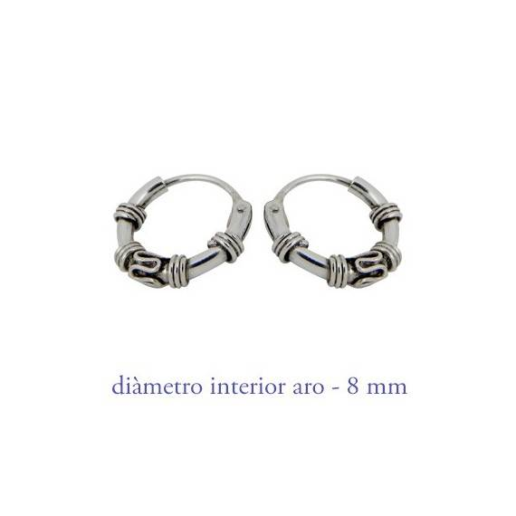Men's sterling silver balinese hoop earrings, diameter 8mm. Price by unit