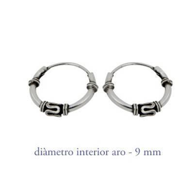 Men's sterling silver balinese hoop earrings, diameter 9mm. Price by unit