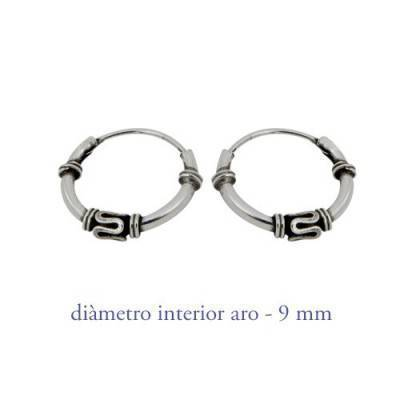 Men's sterling silver balinese hoop earrings, diameter 9mm. Price by unit