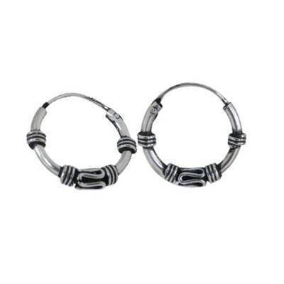 Men's sterling silver balinese hoop earrings, diameter 11mm. Price by unit