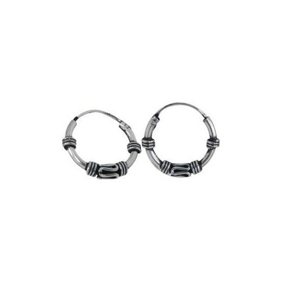Men's sterling silver balinese hoop earrings, diameter 11mm. Price by unit