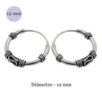Men's sterling silver balinese hoop earrings, diameter 13mm. Price by unit